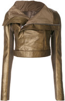 Rick Owens cropped biker jacket - women - Silk/Cotton/Leather/Viscose - 38