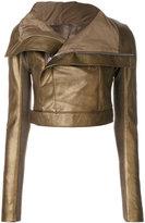 Rick Owens cropped biker jacket - women - Silk/Cotton/Leather/Viscose - 42