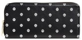 Merona Women's Faux Leather Wallet with Zip Closure Black Polkadot