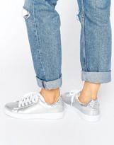 Missguided Silver Glitter Tab Tennis Sneaker