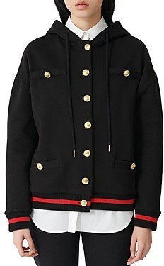 Maje Button Detail Sequin Embellished Hooded Sweatshirt
