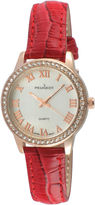 Peugeot Womens Rose Gold Tone And Red Textured Leather Strap Watch 3049RD