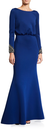 Badgley Mischka V-Back Long-Sleeve Beaded-Cuff Gown w/ Bow Detail