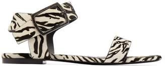 Saint Laurent Oak Tiger-print Calf-hair Buckle Sandals - Womens - Black White