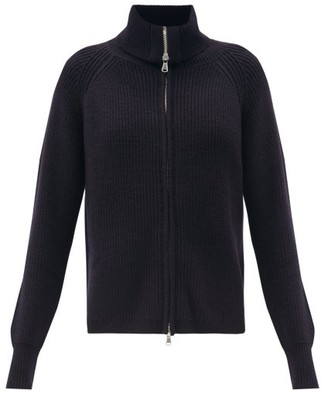 Allude Zipped Ribbed Wool-blend Cardigan - Navy