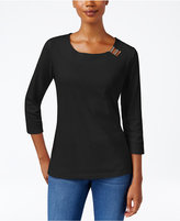 Karen Scott Three-Quarter-Sleeve Hardware-Embellished Top, Only at Macy's