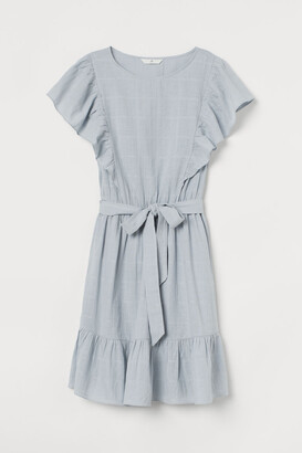 H&M Flounce-trimmed Dress - Turquoise
