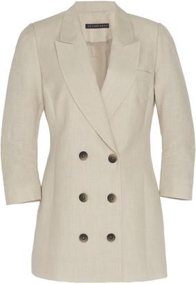 ZEYNEP ARCAY Linen Blend Double Breasted Blazer