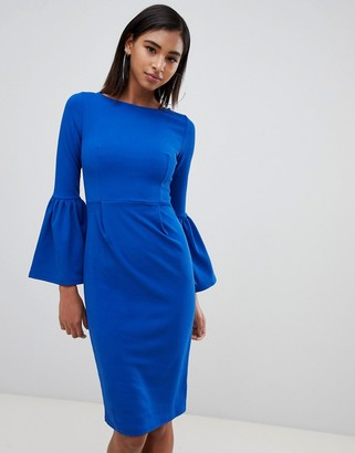 Club L London Pencil Dress With Extreme Frill Sleeve-Blue