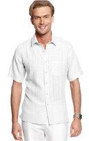 Tasso Elba Short-Sleeve Textured Linen-Blend Shirt, Created for Macy's