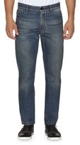 Fendi Straight-Leg Denim Jeans with Face, Dark Blue
