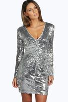 Boohoo Boutique Mina Sequin Plunge Neck Bodycon Dress