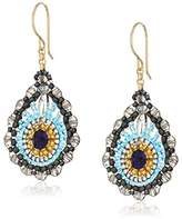 Miguel Ases Small Swarovski and Rice Bead Centered Rondell Rimmed Tear Drop Earrings