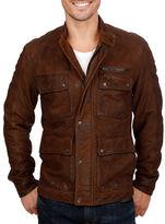 Lucky Brand Leather Moto Safari Jacket