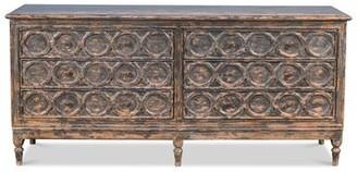 """Rosalind Wheeler Mccleskey 80"""" Wide 6 Drawer Pine Wood Sideboard"""