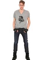 Karl Lagerfeld Jersey V-Neck Print T-Shirt