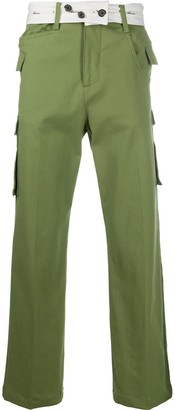Ader Error Wide Leg Trousers With Belt Button Detail