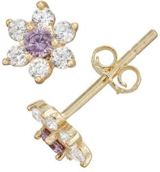 Junior Jewels Gold Tone Sterling Silver Simulated Birthstone Flower Stud Earrings