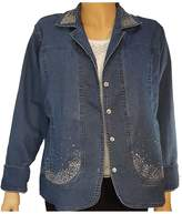 Upscale St Nick Blue Denim Bling Jacket with Rhinestone Buttons (XXL, )