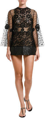 Valentino Jeweled Lace Bell-Sleeve Blouse