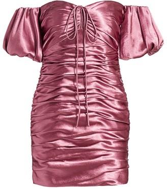 Cinq à Sept Tati Puff-Sleeve Ruched Satin Mini Dress