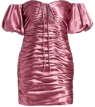 Cinq à Sept Tati Puff-Sleeve Ruched Satin Mini Dress