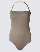 M&S Collection Secret SlimmingTM Studded Bandeau Swimsuit