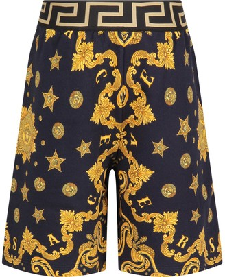 Versace Blue Short For Boy With Gold Iconic Medusa