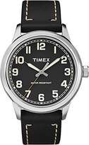 Timex Unisex Quartz Watch with Black Dial Analogue Display and Black Leather Strap TW2R22800