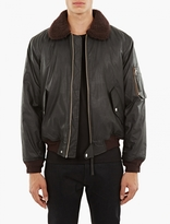 Our Legacy Blouson Flight Coton Enduit Noir Col Lainé
