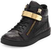 Giuseppe Zanotti Aftering Crocodile-Embossed Leather High-Top Sneaker, Youth