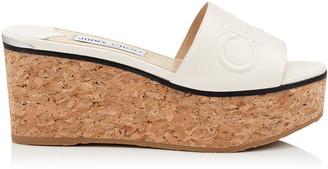 Jimmy Choo DEEDEE 80 Latte Nappa Leather Wedge Sandal with Embossed Logo