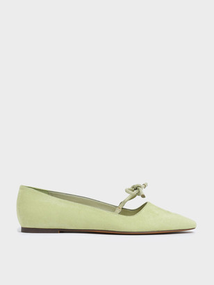 Charles & Keith Textured Mini Square Toe Bow Strap Ballerina Flats