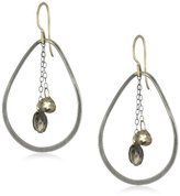 """Melissa Joy Manning Metallic Denim"""" Mixed Metal with Quartz and Pyrite Centered On Chain Tear-Drop Earrings"""