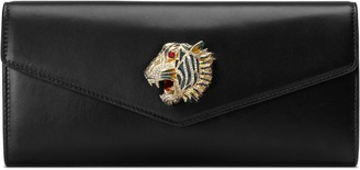 Gucci Broadway leather clutch with tiger