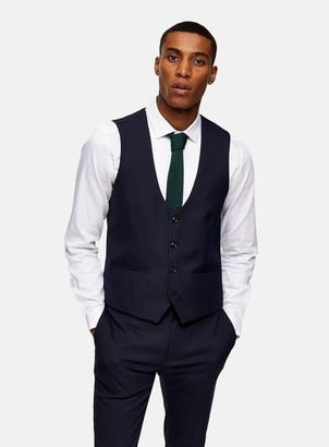 Topman Navy Skinny Fit Suit Waistcoat