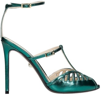 ALEVÌ Milano Laila 110 Sandals In Green Leather