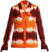 Marco De Vincenzo Graphic-print pussy-bow silk blouse