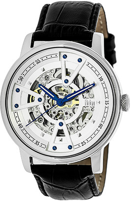 Reign Men's Watches Silver - Stainless Steel Belfour Leather-Strap Watch