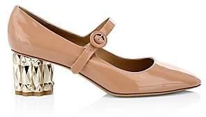Salvatore Ferragamo Women's Ortensia Faceted-Heel Patent Leather Mary Janes