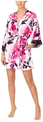 Donna Karan Charmeuse Sleepwear Short Robe (White Large Floral) Women's Pajama