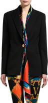 Versace Cotton-Silk Blazer with Scarf Neck