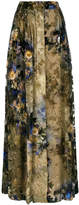 Alberta Ferretti pleated floral maxi skirt