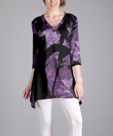 Lily Purple Abstract Sidetail Tunic - Plus Too