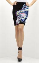 Herve Leger Ezra Multicolor Ripple Jacquard Pencil Skirt