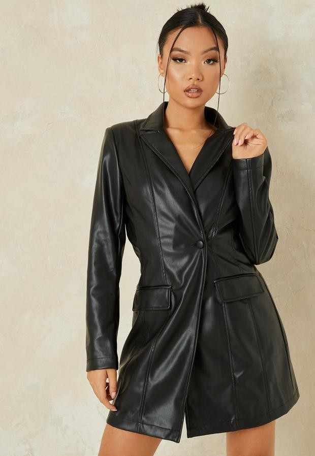 Missguided Tall Black Faux Leather Tailored Blazer Dress