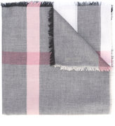 Burberry fringed check scarf - women - Modal/Wool - One Size