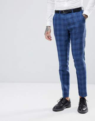 Gianni Feraud Slim Fit Wedding Check Suit Trousers-Navy