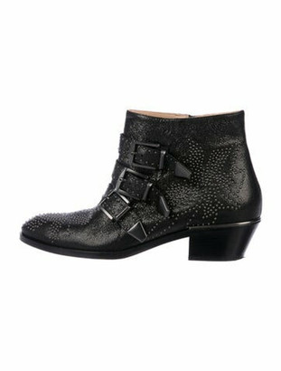 Chloé Leather Studded Accents Boots Black