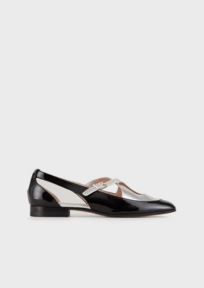 Giorgio Armani Mary Janes In Patent And Laminated Leathers